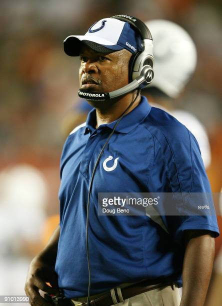 Head coach Jim Caldwell of the Indianapolis Colts watches his team take on f the Miami Dolphins at Land Shark Stadium on September 21 2009 in Miami...