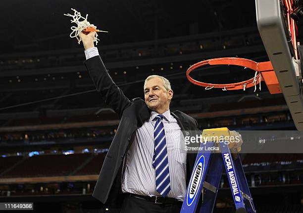 Head coach Jim Calhoun of the Connecticut Huskies cuts down the net after defeating the Butler Bulldogs to win the National Championship Game of the...