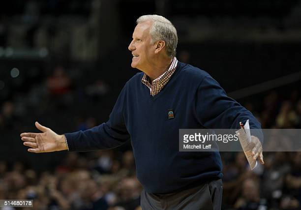 Head coach Jim Crews of the Saint Louis Billikens reacts in the game against the George Washington Colonials in the second round of the men's...