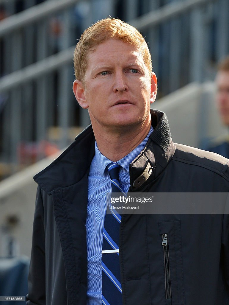 Head coach Jim Curtin of the Philadelphia Union looks on before the game against the FC Dallas at PPL Park on March 21, 2015 in Chester, Pennsylvania. Dallas won 2-0.