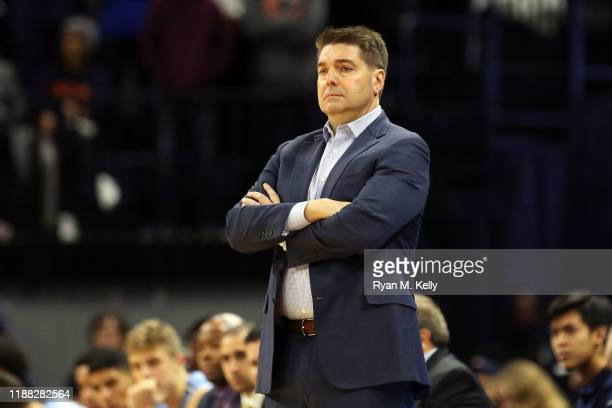 Head coach Jim Engles of the Columbia Lions in the first half during a game against the Virginia Cavaliers at John Paul Jones Arena on November 16,...