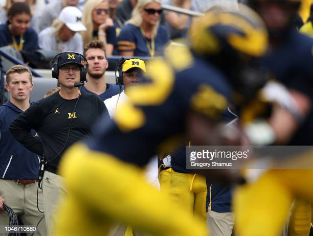 Head coach Jim Harbaugh of the Michigan Wolverines looks on while playing the Maryland Terrapins on October 6 2018 at Michigan Stadium in Ann Arbor...