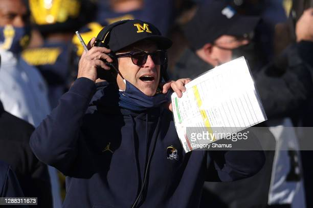 Head coach Jim Harbaugh of the Michigan Wolverines reacts in the second half while playing the Penn State Nittany Lions at Michigan Stadium on...