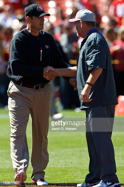 Head coach Jim Harbaugh of the San Francisco 49ers shakes hands with head coach Chan Gailey of the Buffalo Bills before the game at Candlestick Park...
