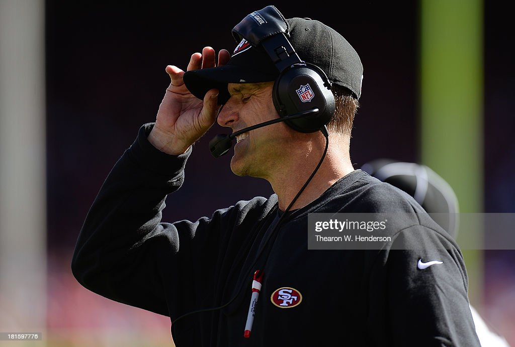 Head Coach Jim Harbaugh of the San Francisco 49ers shows his frustation on the sidelines while his team is losing to the Indianapolis Colts during the fourth quarter at Candlestick Park on September 22, 2013 in San Francisco, California. The Colts won the game 27-7.