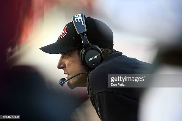 Head coach Jim Harbaugh of the San Francisco 49ers watches the action on the field in the third quarter against the Arizona Cardinals at Levi's...
