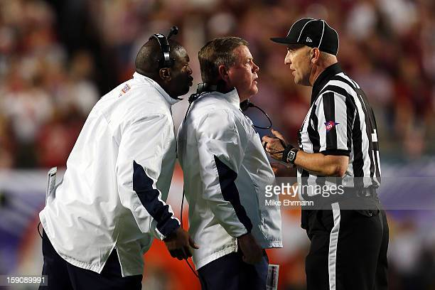 Head coach Jim Kelly of the Notre Dame Fighting Irish argues a call with the line judge against the Alabama Crimson Tide during the 2013 Discover BCS...