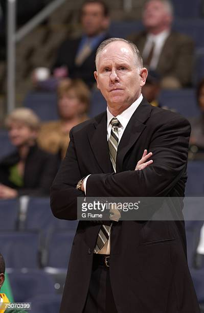 Head coach Jim Larranaga of the George Mason Patriots during the game against the Bucknell Bison during the BB&T Classic on December 3, 2006 at...