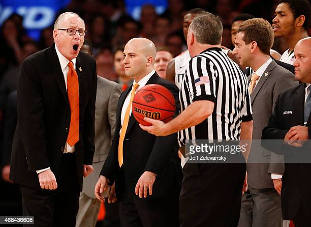 Head coach Jim Larranaga of the Miami Hurricanes argues a call against the Stanford Cardinal during the NIT Championship at Madison Square Garden on...