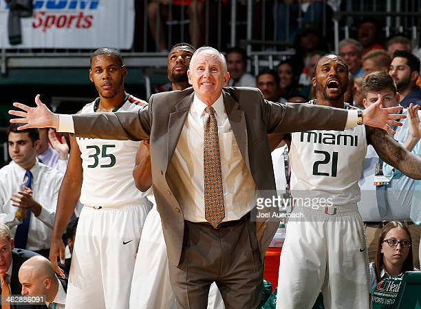 Head coach Jim Larranaga of the Miami Hurricanes reacts to second half action against the Florida State Seminoles on January 15 2014 at the...