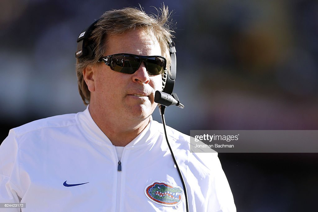 Head coach Jim McElwain of the Florida Gators reacts during the second half of a game against the LSU Tigers at Tiger Stadium on November 19, 2016 in Baton Rouge, Louisiana.