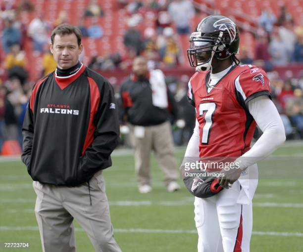 Head coach Jim Mora and quaterback Michael Vick of the Atlanta Falcons prior to a game on December 3 2006 against the Washington Redskins at Fedex...