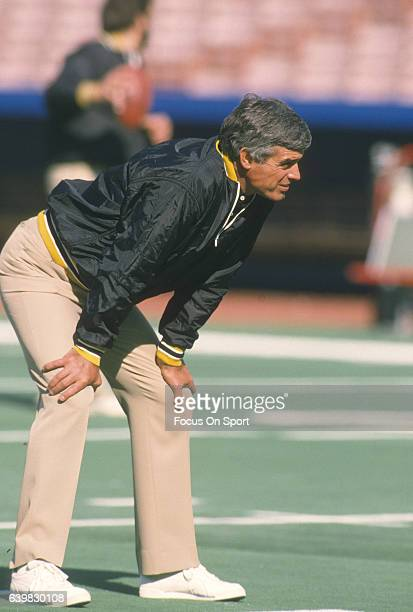 Head coach Jim Mora of the New Orleans Saints looks on during pregame warm ups prior to the start of an NFL football game against the Buffalo Bills...