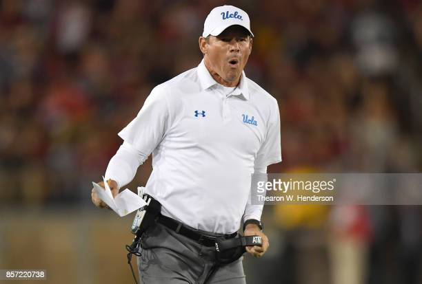 Head coach Jim Mora of the UCLA Bruins reacts after his defensive back Adarius Pickett was disqualified from the game against the Stanford Cardinal...