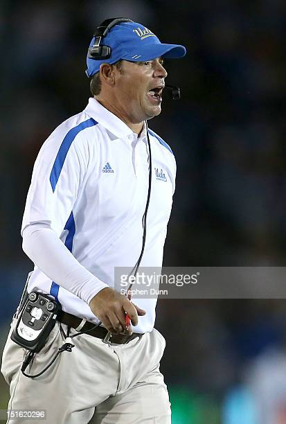 Head coach Jim Mora of the UCLA Bruins shouts instructions during the game against the Nebraska Cornhuskers at the Rose Bowl on September 8 2012 in...