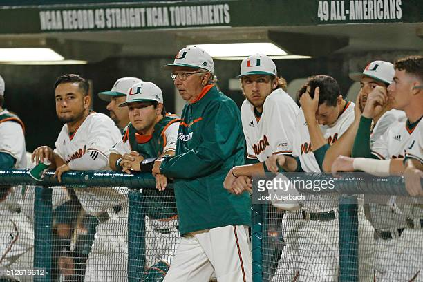 Head coach Jim Morris of the Miami Hurricanes watches first inning actin against the Florida Gators on February 26 2016 at Alex Rodriguez Park at...