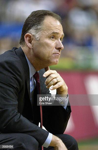 Head coach Jim O'Brien of the Boston Celtics watches Game four of Eastern Conference Semifinals against the New Jersey Nets during 2003 NBA Playoffs...