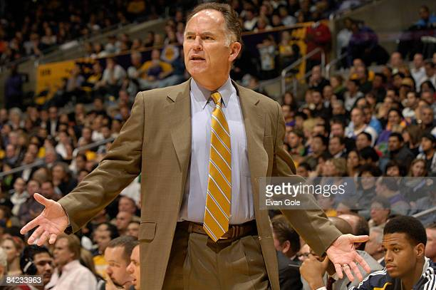Head Coach Jim O'Brien of the Indiana Pacers reacts during a game against the Los Angeles Lakers at Staples Center on January 9 2009 in Los Angeles...