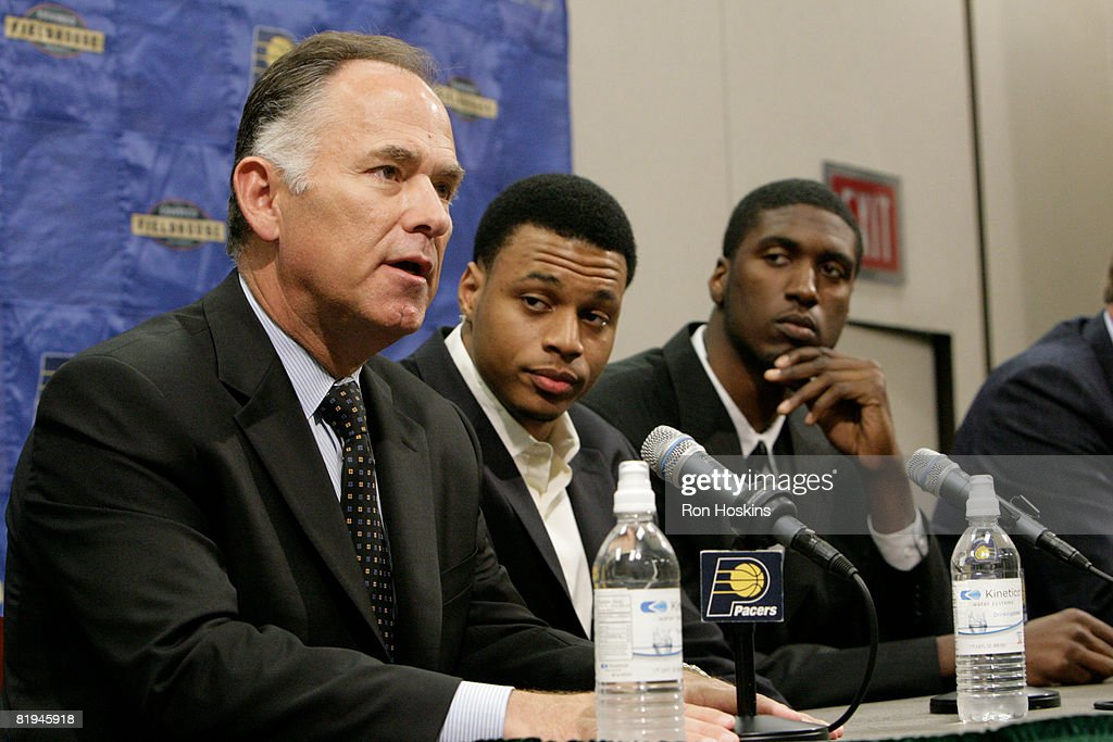 Head coach Jim O'Brien (L) of the Indiana Pacers speaks to the media as Pacers' first round draft picks Brandon Rush (C) and Roy Hibbert (R) look on at Conseco Fieldhouse on July 15, 2008 in Indianapolis, Indiana.