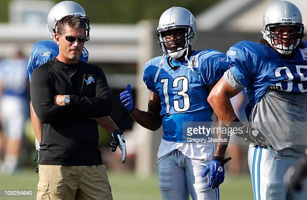 Head coach Jim Schwartz looks on during training camp at the Detroit Lions Headquarters and Training Facility on August 5 2010 in Allen Park Michigan