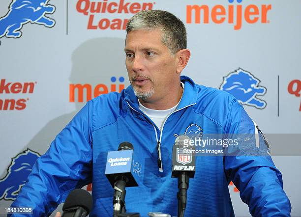 Head coach Jim Schwartz of the Detroit Lions answers questions from the media during the post game press conference after a game against the...