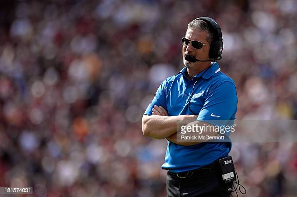 Head coach Jim Schwartz of the Detroit Lions reacts in the fourth quarter during a game against the Washington Redskins at FedExField on September 22...