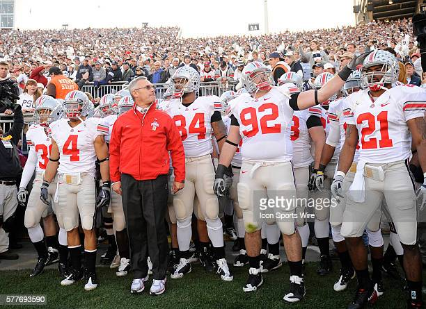 Head coach Jim Tressel and his Ohio State Buckeyes wait to enter the field before play against Penn State at Beaver Stadium in University Park PA on...
