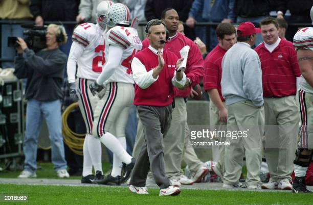 Head coach Jim Tressel of the Ohio State University Buckeyes claps during the game against the Purdue University Boilermakers at RossAde Stadium at...