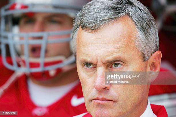 Head coach Jim Tressel of the Ohio State University Buckeyes prepares for the game against the Indiana University Hoosiers on October 23, 2004 at...