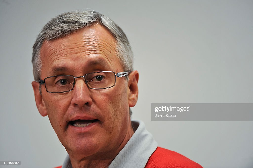 Ohio State Spring Football Preview with Coach Jim Tressel : News Photo