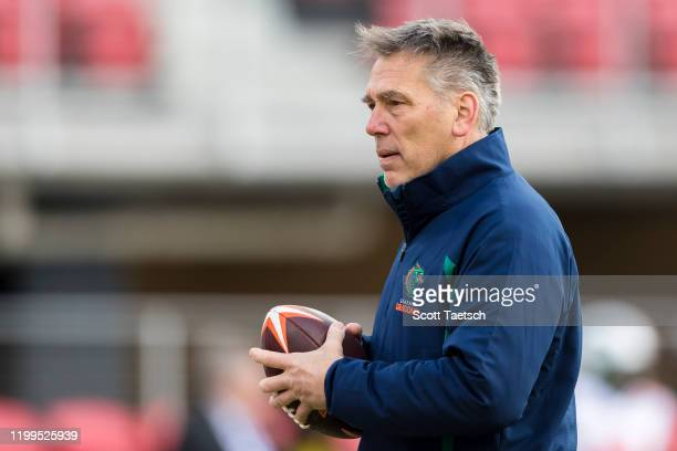 Head coach Jim Zorn of the Seattle Dragons looks on before the XFL game against the DC Defenders at Audi Field on February 8 2020 in Washington DC