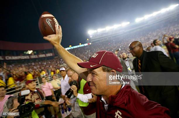 Head coach Jimbo Fisher of the Florida State Seminoles celebrates after defeating the Notre Dame Fighting Irish 3127 at Doak Campbell Stadium on...