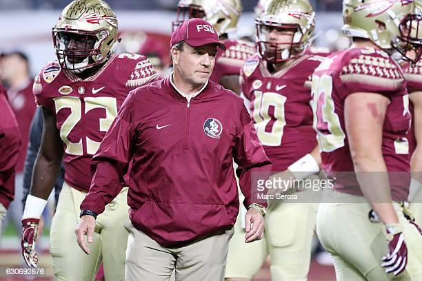 Head coach Jimbo Fisher of the Florida State Seminoles looks on prior to their Capitol One Orange Bowl game against the Michigan Wolverines at Sun...