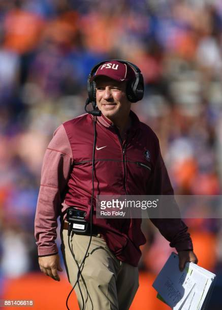 Head coach Jimbo Fisher of the Florida State Seminoles looks on during the game against the Florida Gators at Ben Hill Griffin Stadium on November 25...