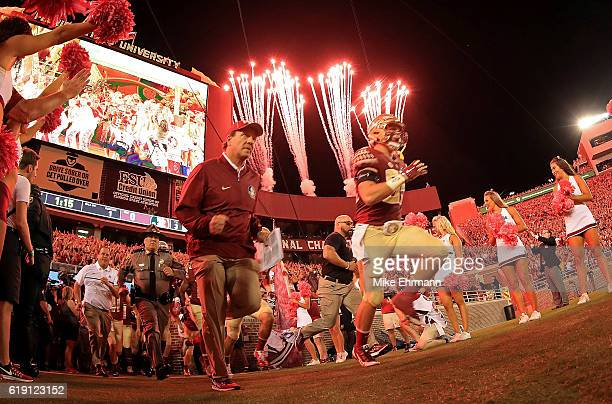 Head coach Jimbo Fisher of the Florida State Seminoles takes the field during a game against the Clemson Tigers at Doak Campbell Stadium on October...
