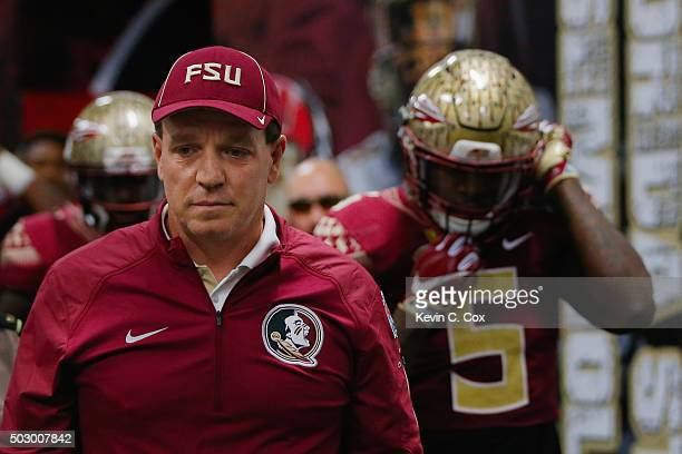 Head coach Jimbo Fisher of the Florida State Seminoles walks to the field before the game against the Houston Cougars during the ChickfilA Peach Bowl...