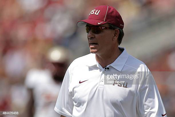 Head coach Jimbo Fisher of the Florida State Seminoles watches action during Florida State's Garnet and Gold spring game at Doak Campbell Stadium on...