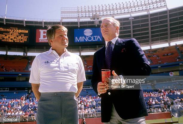 Head coach Jimmy Johnson and Owner Jerry Jones of the Dallas Cowboys in this portrait on the field circa 1992 before an NFL football game Johnson was...