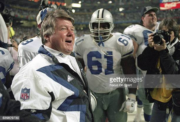 Head coach Jimmy Johnson of the Dallas Cowboys celebrates as they defeat the Buffalo Bill in Super Bowl XXVIII on January 30 1994 at the Georgia Dome...