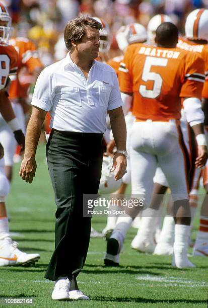 Head coach Jimmy Johnson of the University of Miami Hurricanes football team in this portrait on the field circa 1987 before an NCAA football game at...