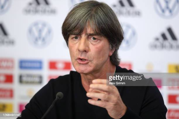 Head coach Joachim Loew addresses a virtual press conference ahead of the upcoming national team matches against Spain and Switzerland at the DFB...
