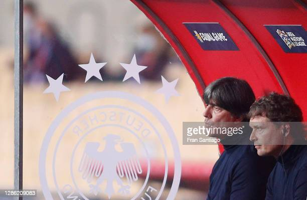Head coach Joachim Loew and assistant coach Marcus Sorg of Germany react during the UEFA Nations League group stage match between Spain and Germany...