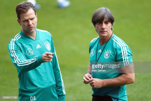 Head coach Joachim Loew and Oliver Bierhoff attend a Germany training session ahead of their International Friendly match against Peru at...