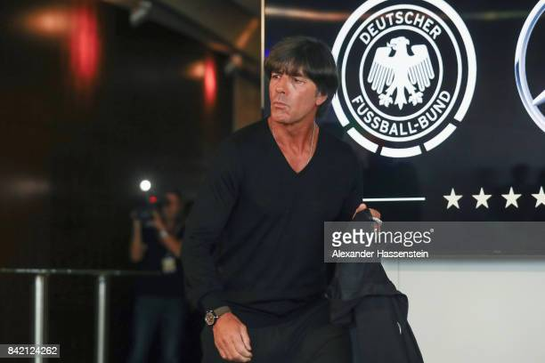 Head coach Joachim Loew arrives for a Germany press conference at MercedesBenzMuseum ahead of their FIFA World Cup Russia 2018 Group C Qualifier...