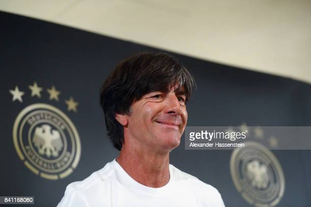 Head coach Joachim Loew arrives for a Germany press conference at the Marriott hotel ahead of their FIFA World Cup Russia 2018 Group C Qualifier...