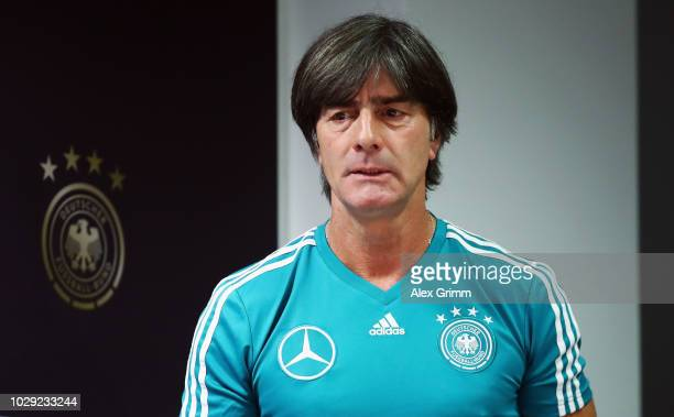 Head coach Joachim Loew attends a Germany press conference ahead of their International Friendly match against Peru at WirsolRheinNeckarArena on...