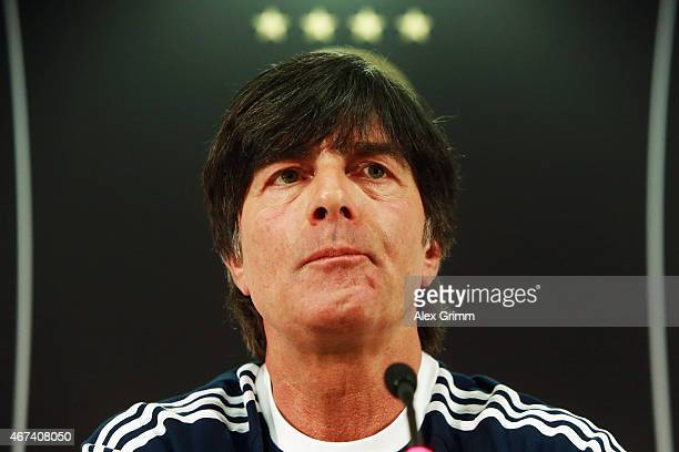 Head coach Joachim Loew attends a Germany press conference at Commerzbank Arena on March 24 2015 in Kaiserslautern Germany