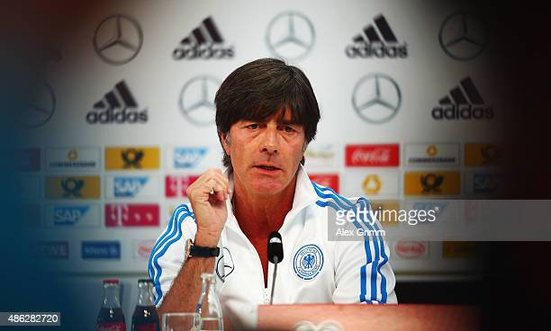Head coach Joachim Loew attends a Germany press conference at CommerzbankArena on September 3 2015 in Frankfurt am Main Germany