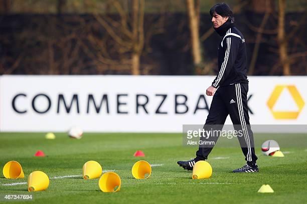 Head coach Joachim Loew attends a Germany training at Kleine Kampfbahn training ground on March 23 2015 in Frankfurt am Main Germany