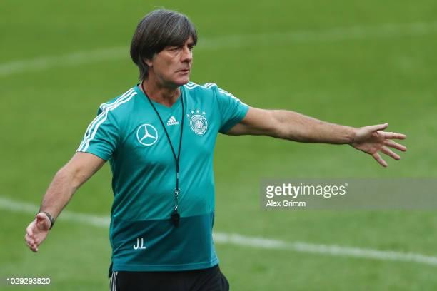 Head coach Joachim Loew attends a Germany training session ahead of their International Friendly match against Peru at WirsolRheinNeckarArena on...